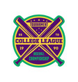 baseball college league label with crossed bats vector image vector image