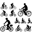 bicyclists silhouettes vector image vector image