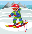 cartoon cheerful child moving on ski in suit vector image vector image