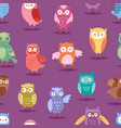 cartoon owl night fly bird cartoon style vector image