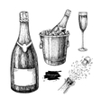 champagne set champagne glass bottle ice bucket vector image vector image