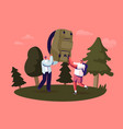 characters camping spare time summer activity vector image vector image