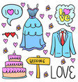 collection stok of wedding element doodles vector image vector image