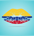 colombia flag lipstick on the lips isolated on a vector image vector image