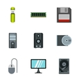 Computer protection icons set flat style vector image