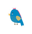 cute blue bird funny character isolated element vector image vector image