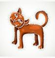 cute cartoon doodle red cat nice pet standing vector image