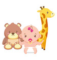cute little bagirl with bear teddy and giraffe vector image vector image