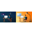 daily life of tired businessman or designer at vector image vector image