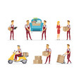 delivery and moving service - cartoon people vector image