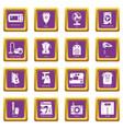 domestic appliances icons set purple square vector image vector image