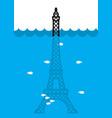 eiffel tower flood deluge in paris plenty of vector image vector image