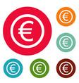euro symbol icons circle set vector image vector image