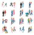 Family people Isometric Icons Set vector image vector image
