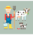 Farmer Cow Cat vector image vector image