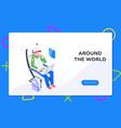 flier traveler using onboard internet provided vector image