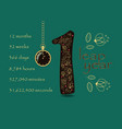 floral card with number one and pocket watch vector image vector image