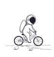 funny astronaut rides on bicycle on moon vector image vector image