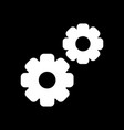 gear icon black and white two gears vector image vector image