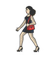 girl in uncomfortable shoes sketch engraving vector image