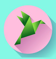 green origami bird art icon vector image