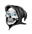 grim reaper head skull with his blue eyes and vector image vector image