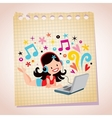 Headphones laptop pretty girl note paper cartoon vector image vector image