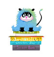 monster on stack books read and study clipart vector image