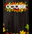 october background with colorful leaves vector image vector image