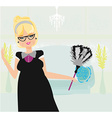 old lady cleans the apartment vector image