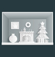 paper art cristmas room new year house greeting vector image vector image