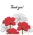 Postcard With Red Flowers 2 vector image vector image