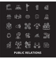 public relations editable line icons set on vector image vector image