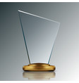 realistic 3d blank shiny glass trophy award vector image