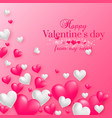realistic floating 3d valentine hearts background vector image vector image