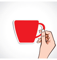 red coffee cup in hand vector image