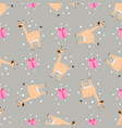 seamless pattern funny cartoon giraffe with gift vector image