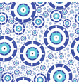 seamless texture with blue greek evil eye vector image vector image
