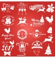 set merry christmas and happy new year 2017 vector image vector image