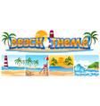 set of beach theme landscape vector image vector image