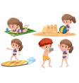 set of children beach activity vector image vector image
