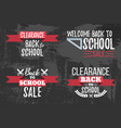set of clearance sale school typographic vector image vector image