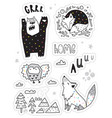 set with different hand drawn stickers vector image vector image