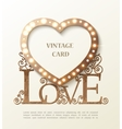 Shine heart with love and shadow vintage card vector image vector image