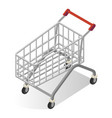 shopping cart wire metal empty isometric icon vector image vector image
