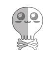 silhouette kawaii cute tender skull with bones vector image