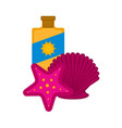 sunscreen bottle with a seashell and a sea star vector image vector image