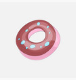 sweet pink donut cartoon icon with chocolate icon vector image vector image