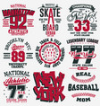 t-shirt stamp graphic set sport wear typography vector image