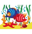 Two cute cartoon fishes under the sea vector image